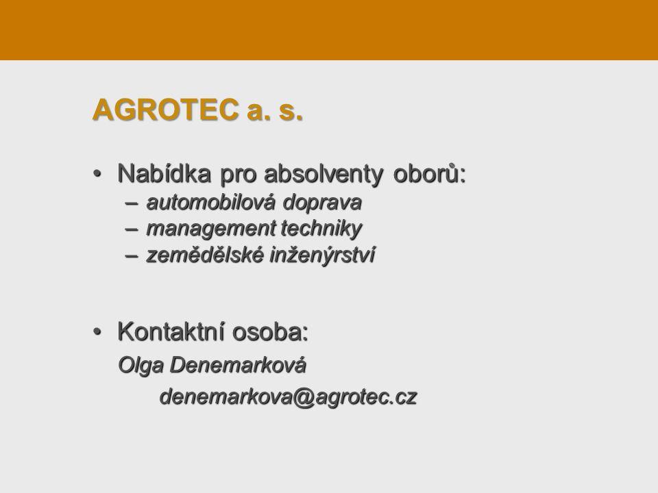 Nabídka pro absolventy oborů:Nabídka pro absolventy oborů: –automobilová doprava –management techniky –zemědělské inženýrství Kontaktní osoba:Kontaktn