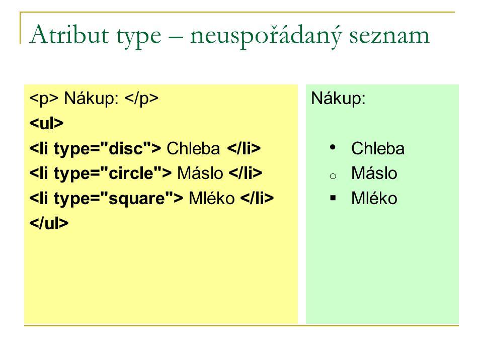 Atribut type – neuspořádaný seznam Nákup: Chleba Máslo Mléko Nákup:  Chleba  Máslo  Mléko
