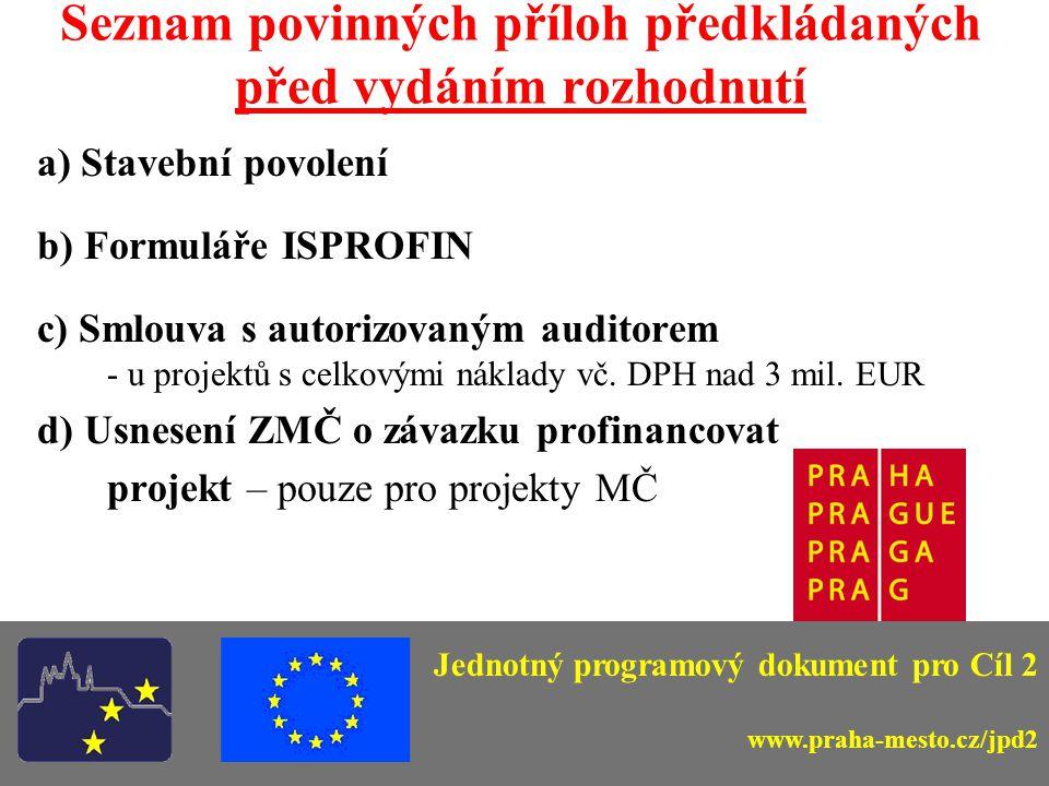Seznam povinných příloh předkládaných před vydáním rozhodnutí a) Stavební povolení b) Formuláře ISPROFIN c) Smlouva s autorizovaným auditorem - u projektů s celkovými náklady vč.