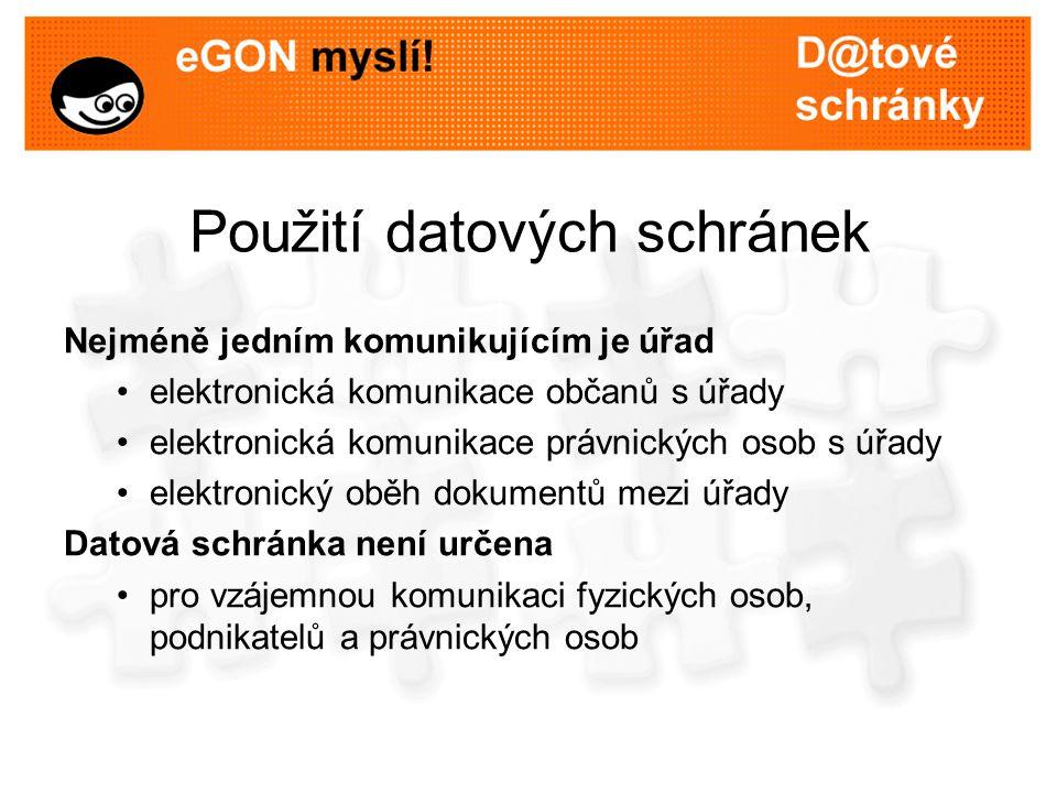 Použití datových schránek Nejméně jedním komunikujícím je úřad elektronická komunikace občanů s úřady elektronická komunikace právnických osob s úřady