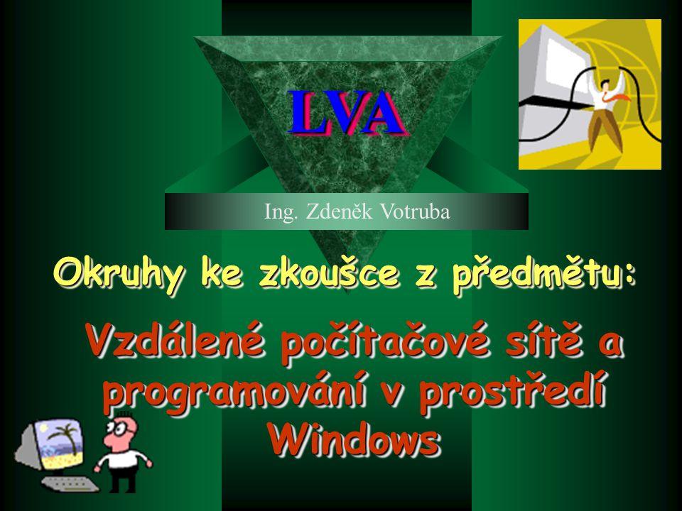 Vzdálené počítačové sítě a programování v prostředí Windows Okruhy ke zkoušce z předmětu: Ing.