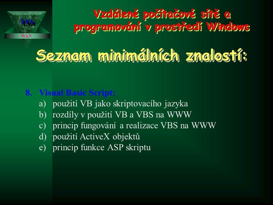 Vzdálené počítačové sítě a programování v prostředí Windows WAN LVALVA Seznam minimálních znalostí: 7.Visual Basic: a)charakteristika, popis a využití