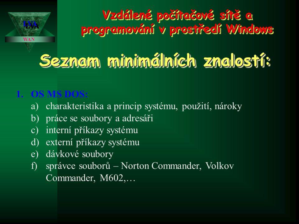 Vzdálené počítačové sítě a programování v prostředí Windows WAN LVALVA Seznam minimálních znalostí: 1.OS MS DOS: a)charakteristika a princip systému, použití, nároky b)práce se soubory a adresáři c)interní příkazy systému d)externí příkazy systému e)dávkové soubory f)správce souborů – Norton Commander, Volkov Commander, M602,…