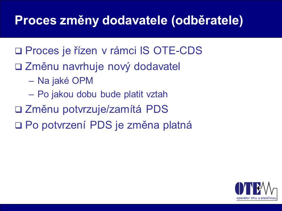Proces změny dodavatele (odběratele)  Proces je řízen v rámci IS OTE-CDS  Změnu navrhuje nový dodavatel –Na jaké OPM –Po jakou dobu bude platit vztah  Změnu potvrzuje/zamítá PDS  Po potvrzení PDS je změna platná