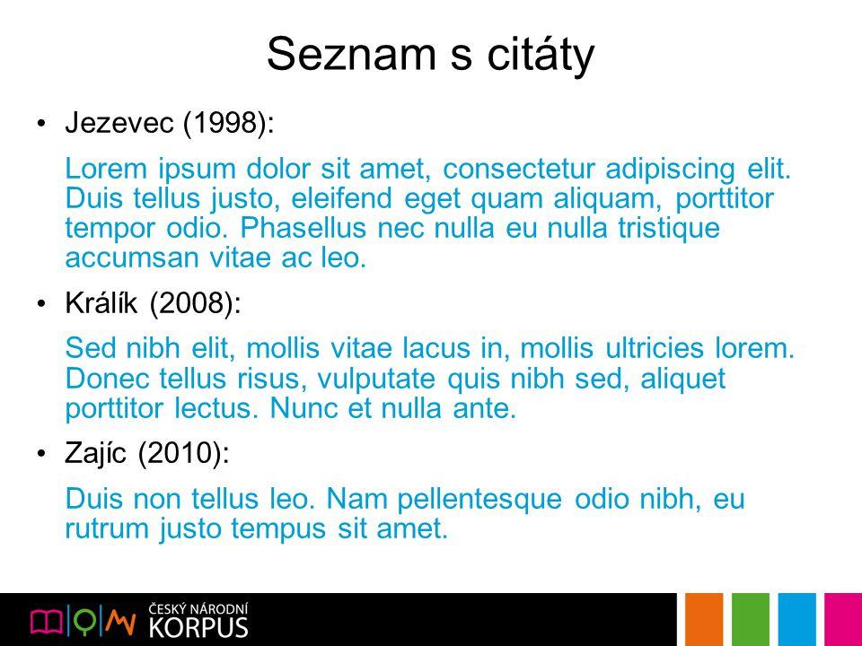 Seznam s citáty Jezevec (1998): Lorem ipsum dolor sit amet, consectetur adipiscing elit.