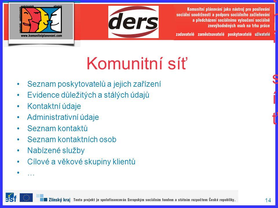 14 Komunitní síťKomunitní síť Seznam poskytovatelů a jejich zařízení Evidence důležitých a stálých údajů Kontaktní údaje Administrativní údaje Seznam
