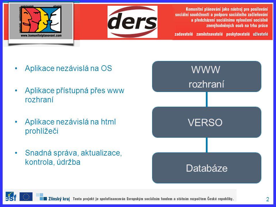 2 Aplikace nezávislá na OS Aplikace přístupná přes www rozhraní Aplikace nezávislá na html prohlížeči Snadná správa, aktualizace, kontrola, údržba WWW