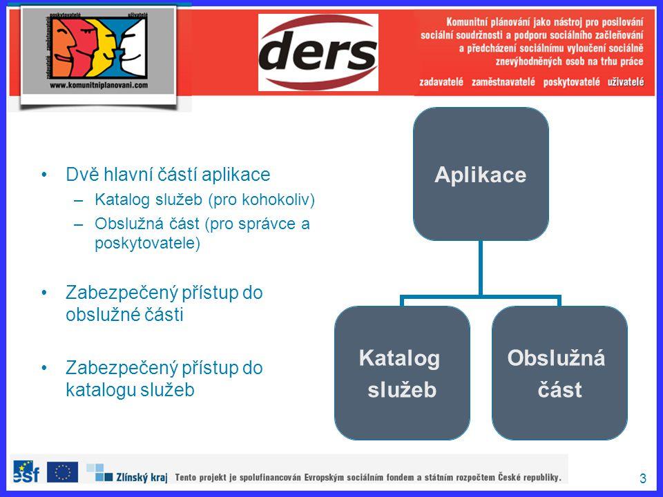 3 Dvě hlavní částí aplikace –Katalog služeb (pro kohokoliv) –Obslužná část (pro správce a poskytovatele) Zabezpečený přístup do obslužné části Zabezpe