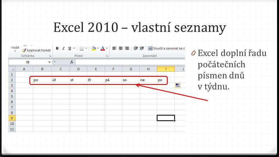 Excel 2010 – vlastní seznamy 0 Excel doplní řadu počátečních písmen dnů v týdnu.