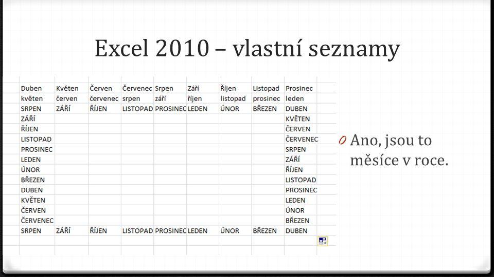 Excel 2010 – vlastní seznamy 0 Ano, jsou to měsíce v roce.
