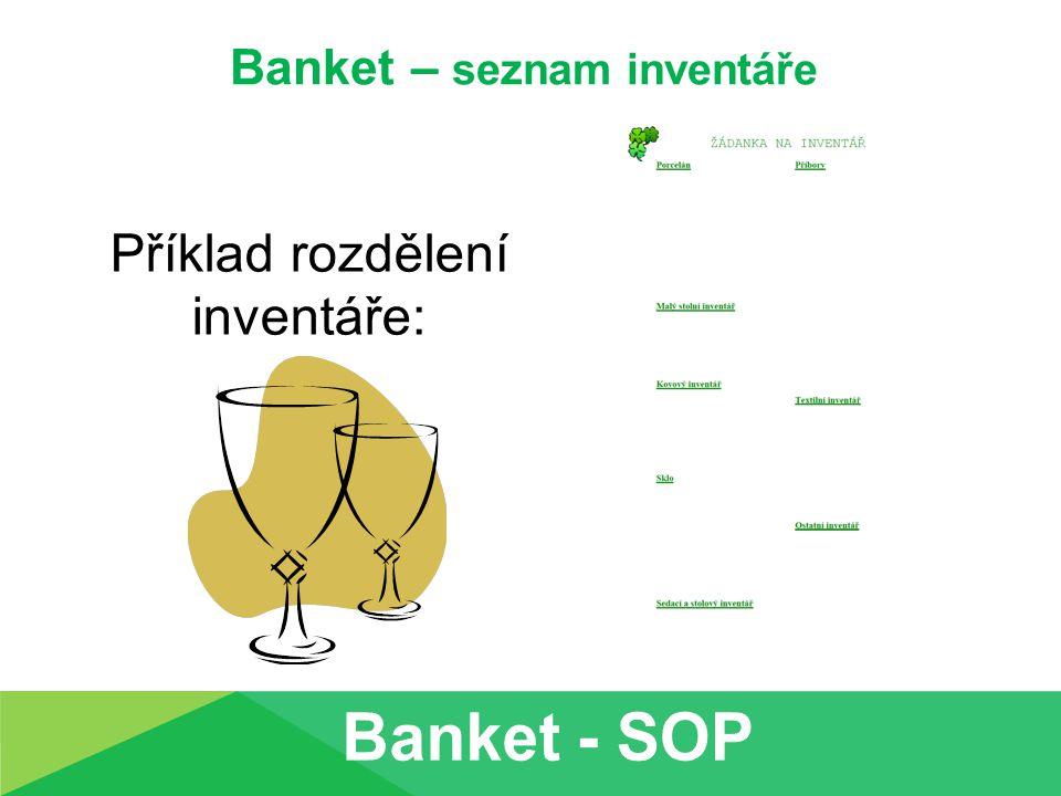 Banket – seznam inventáře Příklad rozdělení inventáře:
