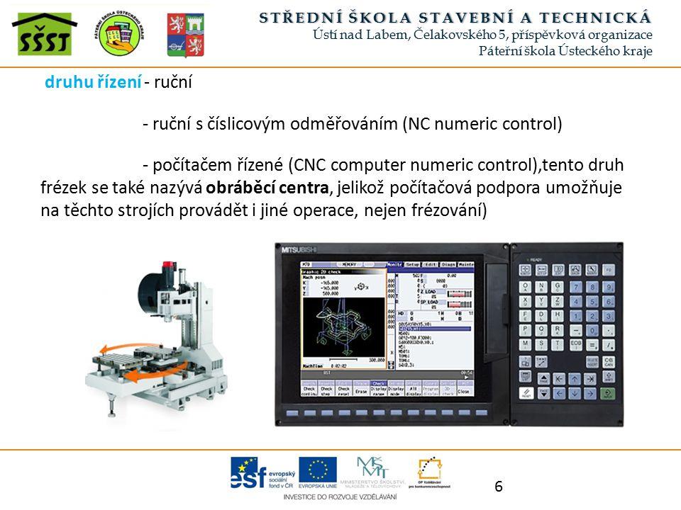 druhu řízení - ruční - ruční s číslicovým odměřováním (NC numeric control) - počítačem řízené (CNC computer numeric control),tento druh frézek se také nazývá obráběcí centra, jelikož počítačová podpora umožňuje na těchto strojích provádět i jiné operace, nejen frézování) 6 STŘEDNÍ ŠKOLA STAVEBNÍ A TECHNICKÁSTŘEDNÍ ŠKOLA STAVEBNÍ A TECHNICKÁ Ústí nad Labem, Čelakovského 5, příspěvková organizace Páteřní škola Ústeckého kraje