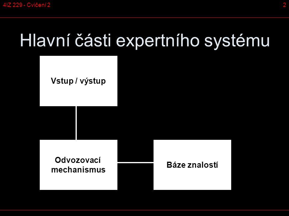 24IZ 229 - Cvičení 2 Hlavní části expertního systému Odvozovací mechanismus Vstup / výstup Báze znalostí