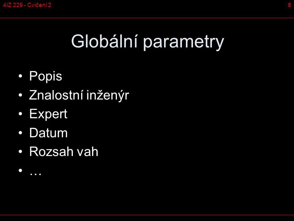 84IZ 229 - Cvičení 2 Globální parametry Popis Znalostní inženýr Expert Datum Rozsah vah …