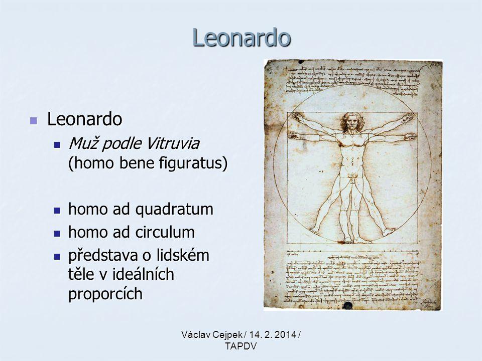 Leonardo Leonardo Leonardo Muž podle Vitruvia (homo bene figuratus) Muž podle Vitruvia (homo bene figuratus) homo ad quadratum homo ad quadratum homo