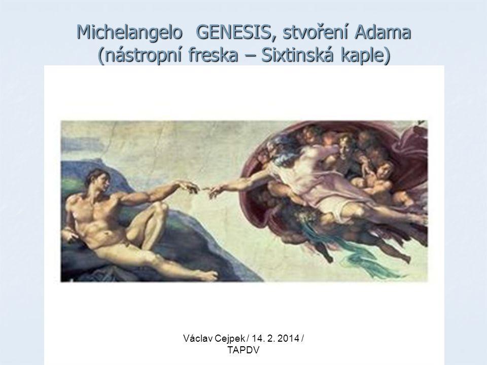 Michelangelo GENESIS, stvoření Adama (nástropní freska – Sixtinská kaple) Václav Cejpek / 14. 2. 2014 / TAPDV