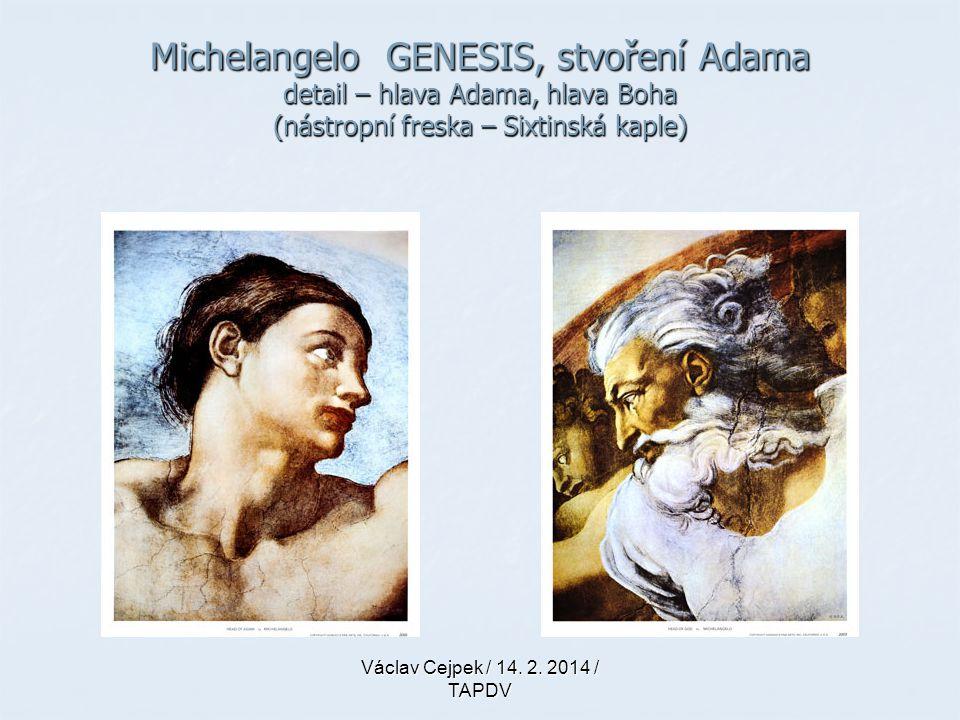 Michelangelo GENESIS, stvoření Adama detail – hlava Adama, hlava Boha (nástropní freska – Sixtinská kaple) Václav Cejpek / 14. 2. 2014 / TAPDV