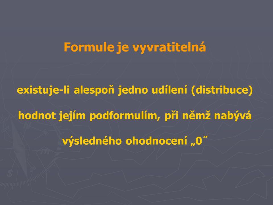 """Formule je vyvratitelná existuje-li alespoň jedno udílení (distribuce) hodnot jejím podformulím, při němž nabývá výsledného ohodnocení """"0˝"""