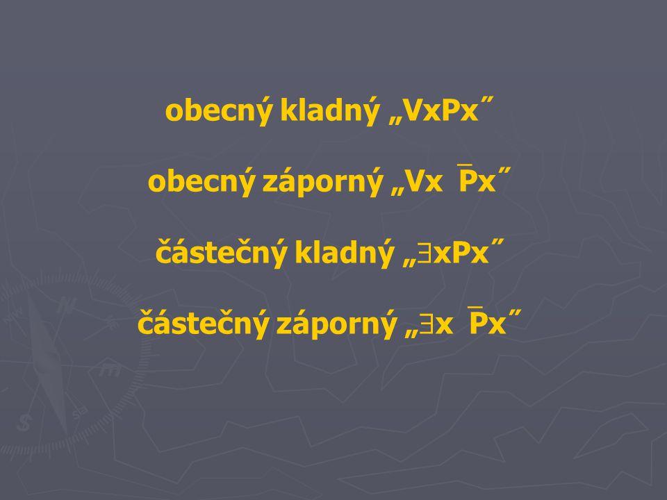 """obecný kladný """"VxPx˝ obecný záporný """"Vx  Px˝ částečný kladný """"  xPx˝ částečný záporný """"  x  Px˝"""