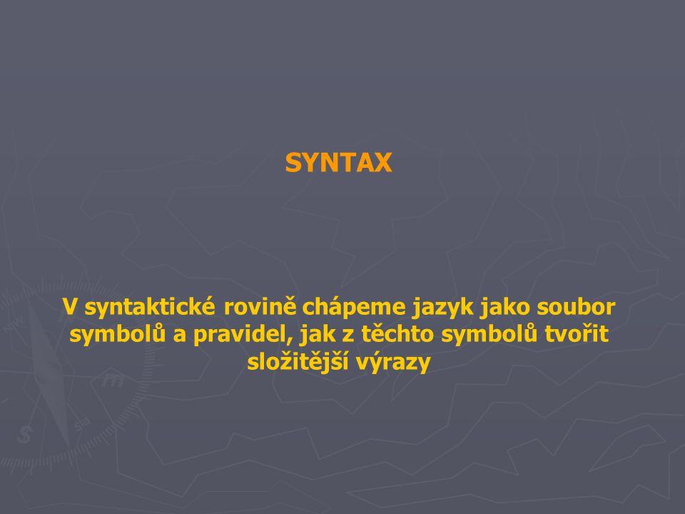 SYNTAX V syntaktické rovině chápeme jazyk jako soubor symbolů a pravidel, jak z těchto symbolů tvořit složitější výrazy