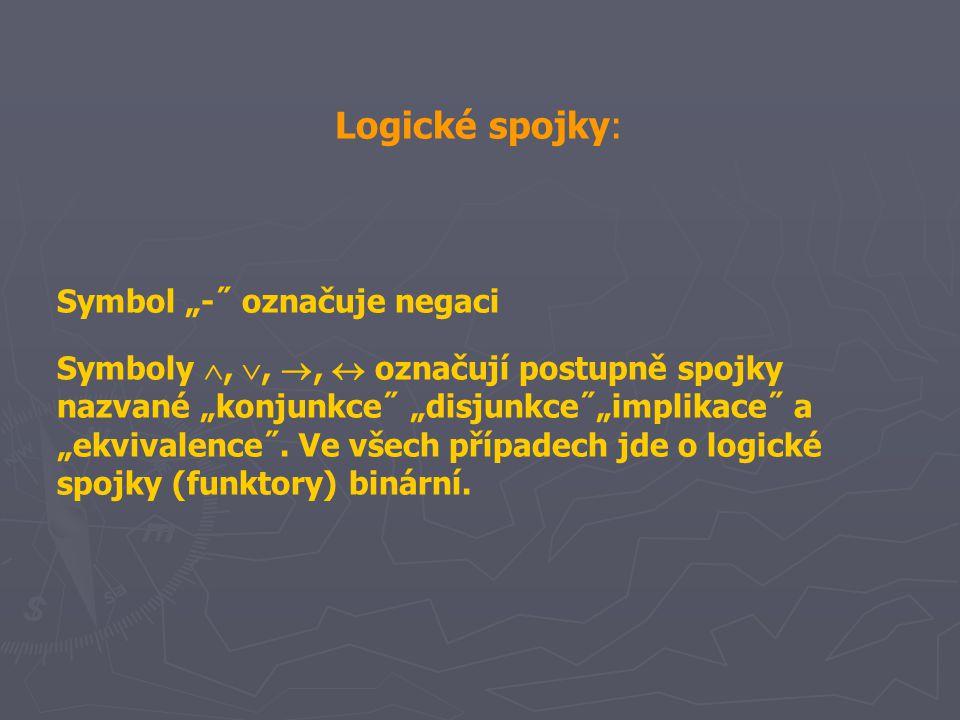 """Logické spojky: Symbol """"-˝ označuje negaci Symboly , , ,  označují postupně spojky nazvané """"konjunkce˝ """"disjunkce˝""""implikace˝ a """"ekvivalence˝. Ve"""