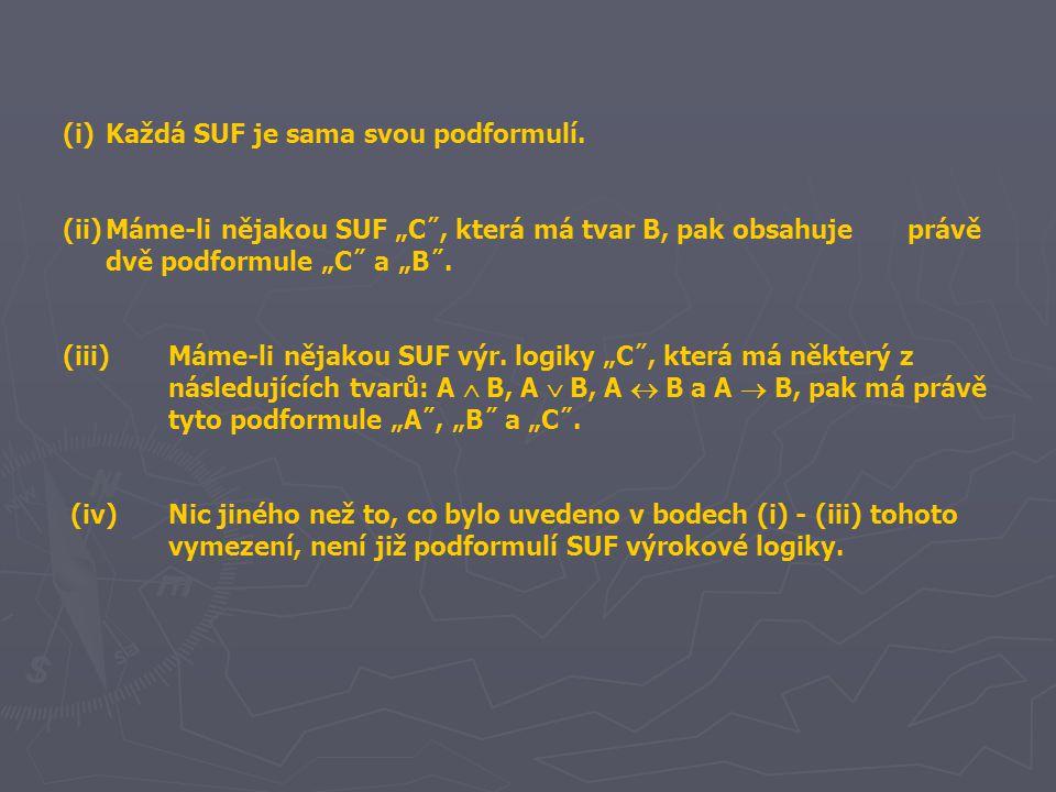 """(i)Každá SUF je sama svou podformulí. (ii)Máme-li nějakou SUF """"C˝, která má tvar B, pak obsahuje právě dvě podformule """"C˝ a """"B˝. (iii)Máme-li nějakou"""