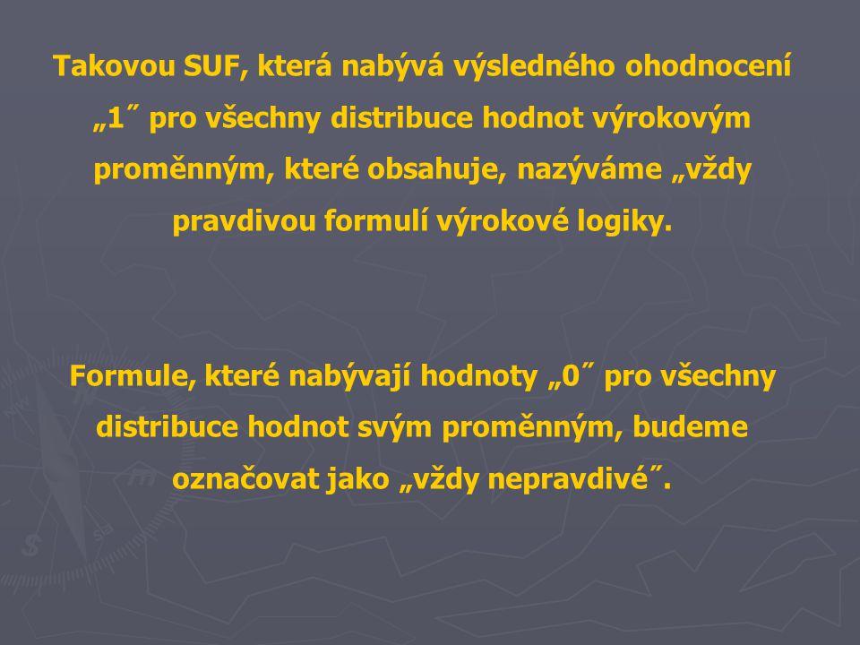 """Takovou SUF, která nabývá výsledného ohodnocení """"1˝ pro všechny distribuce hodnot výrokovým proměnným, které obsahuje, nazýváme """"vždy pravdivou formul"""