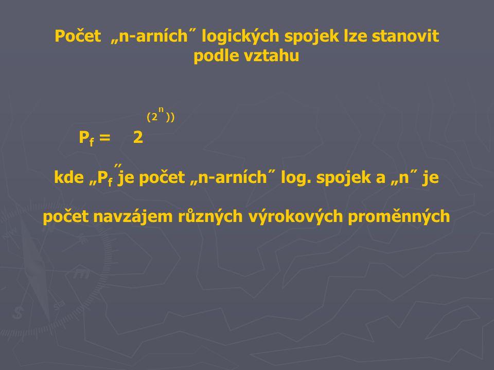 """Počet """"n-arních˝ logických spojek lze stanovit podle vztahu P f = 2 kde """"P f je počet """"n-arních˝ log. spojek a """"n˝ je počet navzájem různých výrokovýc"""