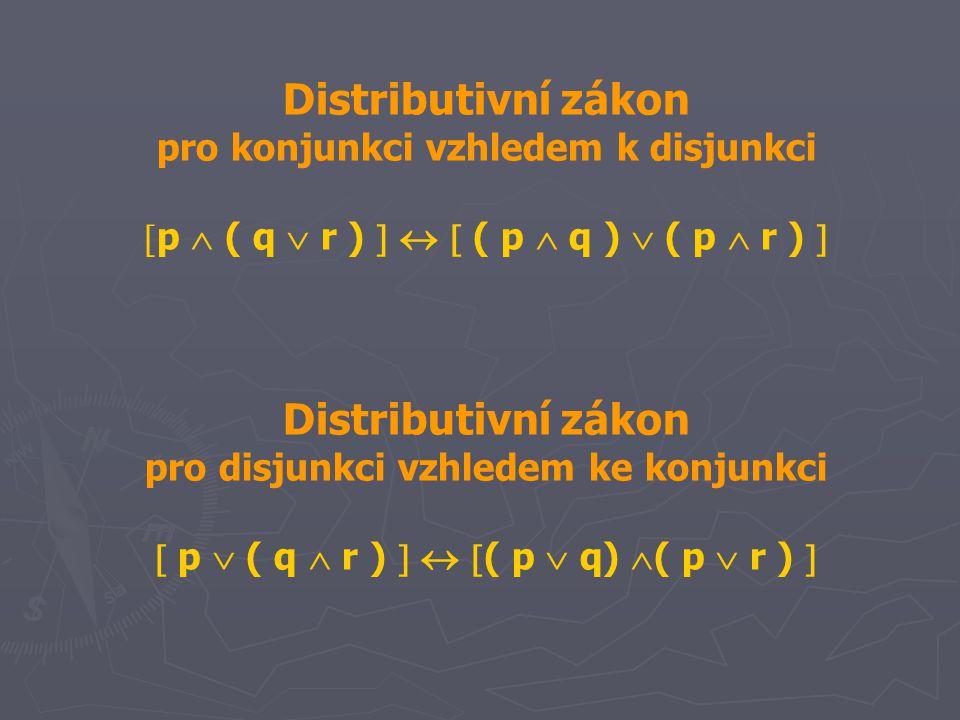 Distributivní zákon pro konjunkci vzhledem k disjunkci  p  ( q  r )    ( p  q )  ( p  r )  Distributivní zákon pro disjunkci vzhledem ke kon