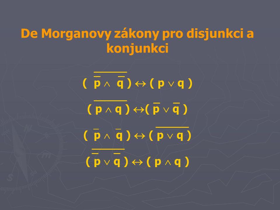 De Morganovy zákony pro disjunkci a konjunkci ( p  q )  ( p  q ) ( p  q )  ( p  q ) (  p  q )  ( p  q ) ( p  q )  ( p  q )