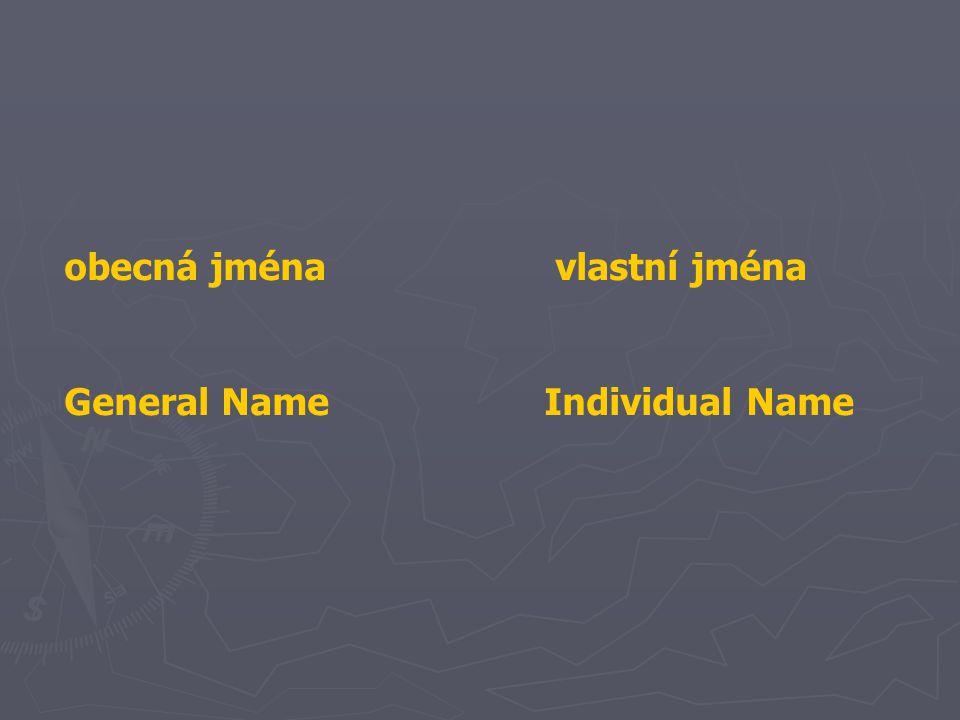 Obecná jména jsou zpravidla jména skupin předmětů, objektů, jevů atd., určených nějakou skutečností (kvalitou, tvarem, obecnou vlastností).