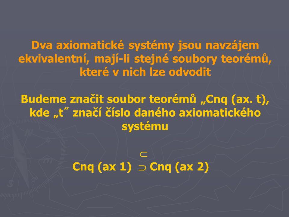 """Dva axiomatické systémy jsou navzájem ekvivalentní, mají-li stejné soubory teorémů, které v nich lze odvodit Budeme značit soubor teorémů """"Cnq (ax. t)"""