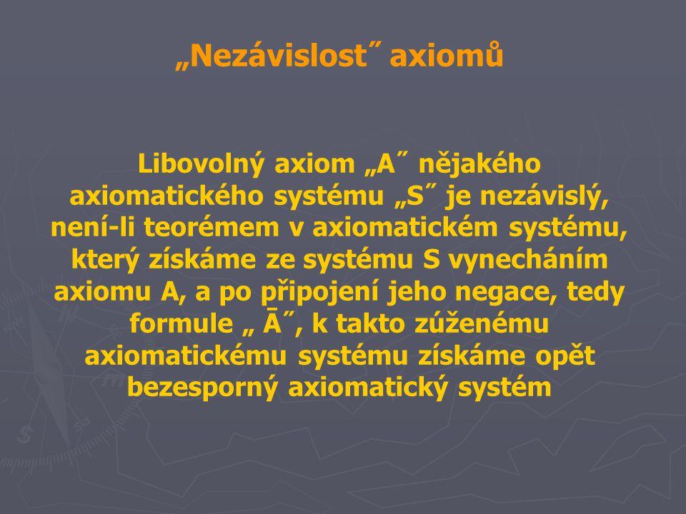 """""""Nezávislost˝ axiomů Libovolný axiom """"A˝ nějakého axiomatického systému """"S˝ je nezávislý, není-li teorémem v axiomatickém systému, který získáme ze sy"""