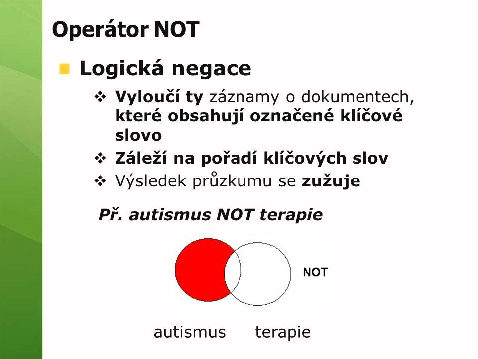 Operátor NOT Logická negace  Vyloučí ty záznamy o dokumentech, které obsahují označené klíčové slovo  Záleží na pořadí klíčových slov  Výsledek prů