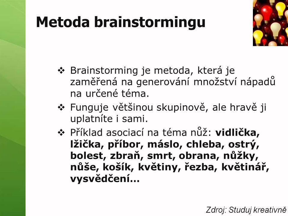 Metoda brainstormingu  Brainstorming je metoda, která je zaměřená na generování množství nápadů na určené téma.  Funguje většinou skupinově, ale hra
