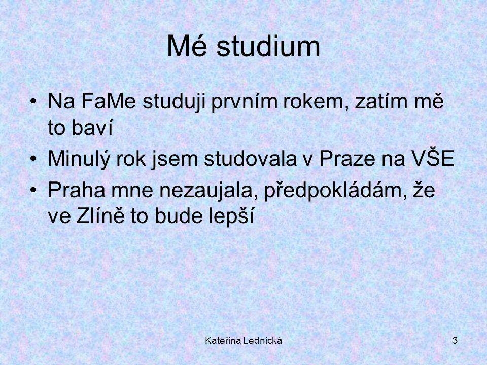 Kateřina Lednická3 Mé studium Na FaMe studuji prvním rokem, zatím mě to baví Minulý rok jsem studovala v Praze na VŠE Praha mne nezaujala, předpokládá