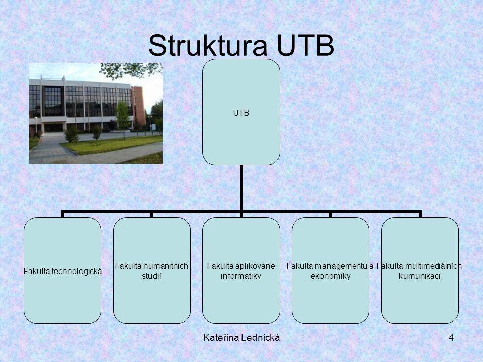 Kateřina Lednická4 Struktura UTB UTB Fakulta technologická Fakulta humanitních studií Fakulta aplikované informatiky Fakulta managementu a ekonomiky F