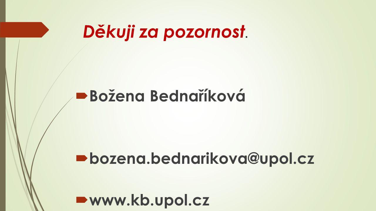 Děkuji za pozornost.  Božena Bednaříková  bozena.bednarikova@upol.cz  www.kb.upol.cz