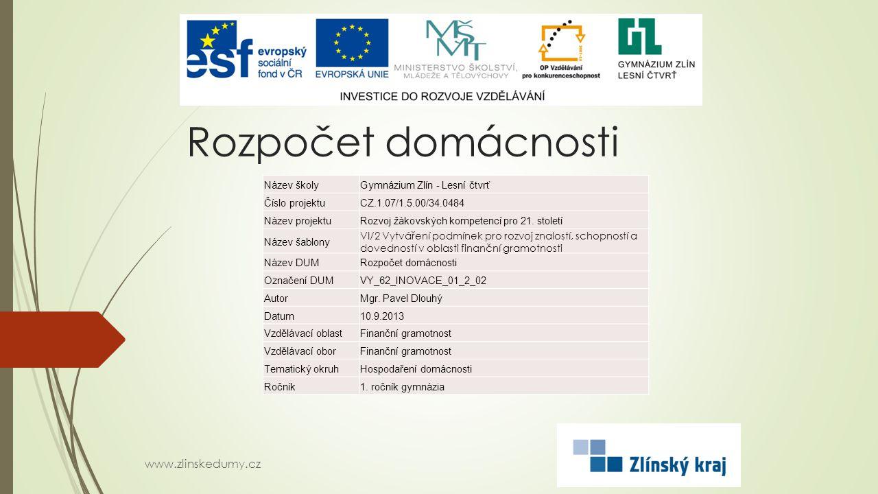 Rozpočet domácnosti www.zlinskedumy.cz Název školyGymnázium Zlín - Lesní čtvrť Číslo projektuCZ.1.07/1.5.00/34.0484 Název projektuRozvoj žákovských ko