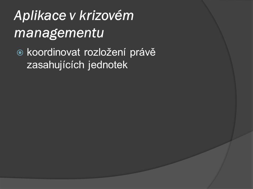 Aplikace v krizovém managementu  koordinovat rozložení právě zasahujících jednotek