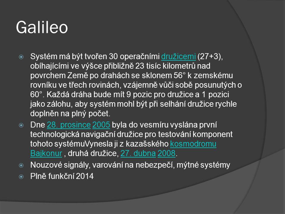 Galileo  Systém má být tvořen 30 operačními družicemi (27+3), obíhajícími ve výšce přibližně 23 tisíc kilometrů nad povrchem Země po drahách se sklon
