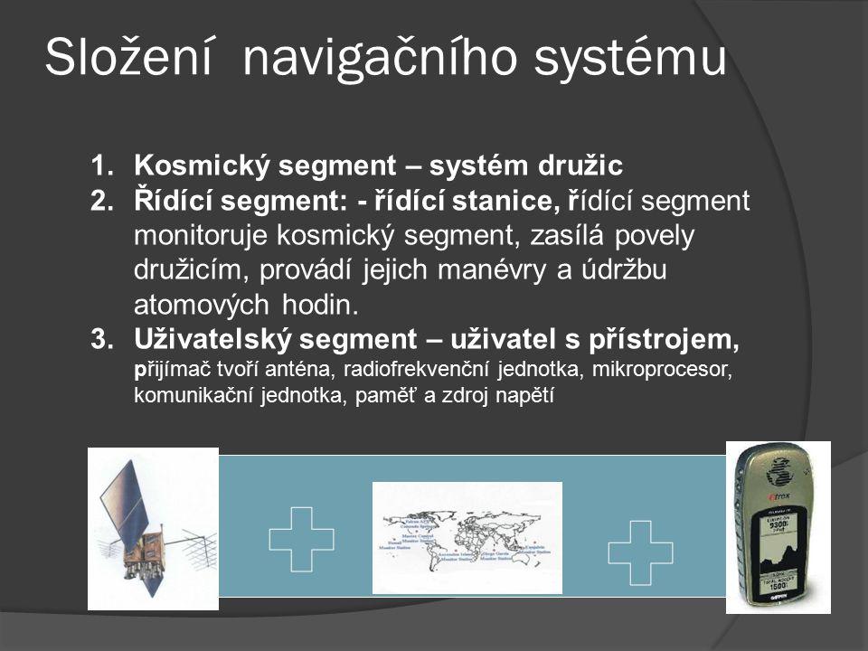 Složení navigačního systému 1.Kosmický segment – systém družic 2.Řídící segment: - řídící stanice, řídící segment monitoruje kosmický segment, zasílá