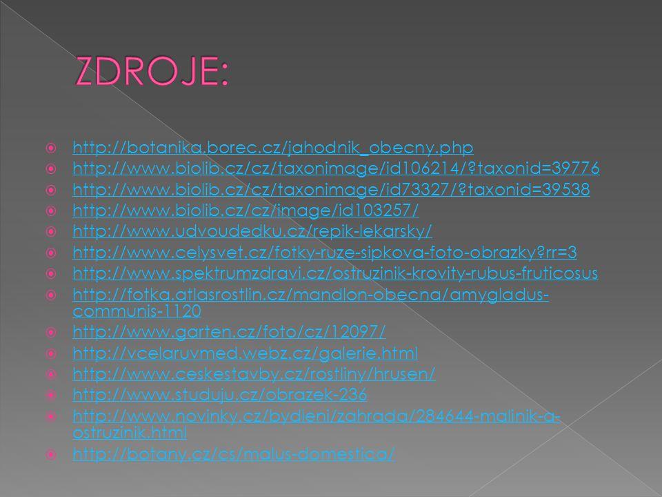  http://botanika.borec.cz/jahodnik_obecny.php http://botanika.borec.cz/jahodnik_obecny.php  http://www.biolib.cz/cz/taxonimage/id106214/?taxonid=39776 http://www.biolib.cz/cz/taxonimage/id106214/?taxonid=39776  http://www.biolib.cz/cz/taxonimage/id73327/?taxonid=39538 http://www.biolib.cz/cz/taxonimage/id73327/?taxonid=39538  http://www.biolib.cz/cz/image/id103257/ http://www.biolib.cz/cz/image/id103257/  http://www.udvoudedku.cz/repik-lekarsky/ http://www.udvoudedku.cz/repik-lekarsky/  http://www.celysvet.cz/fotky-ruze-sipkova-foto-obrazky?rr=3 http://www.celysvet.cz/fotky-ruze-sipkova-foto-obrazky?rr=3  http://www.spektrumzdravi.cz/ostruzinik-krovity-rubus-fruticosus http://www.spektrumzdravi.cz/ostruzinik-krovity-rubus-fruticosus  http://fotka.atlasrostlin.cz/mandlon-obecna/amygladus- communis-1120 http://fotka.atlasrostlin.cz/mandlon-obecna/amygladus- communis-1120  http://www.garten.cz/foto/cz/12097/ http://www.garten.cz/foto/cz/12097/  http://vcelaruvmed.webz.cz/galerie.html http://vcelaruvmed.webz.cz/galerie.html  http://www.ceskestavby.cz/rostliny/hrusen/ http://www.ceskestavby.cz/rostliny/hrusen/  http://www.studuju.cz/obrazek-236 http://www.studuju.cz/obrazek-236  http://www.novinky.cz/bydleni/zahrada/284644-malinik-a- ostruzinik.html http://www.novinky.cz/bydleni/zahrada/284644-malinik-a- ostruzinik.html  http://botany.cz/cs/malus-domestica/ http://botany.cz/cs/malus-domestica/