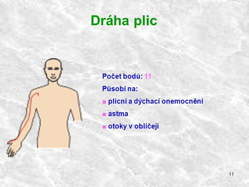 11 Dráha plic Počet bodů: 11 Působí na: ■ plicní a dýchací onemocnění ■ astma ■ otoky v obličeji