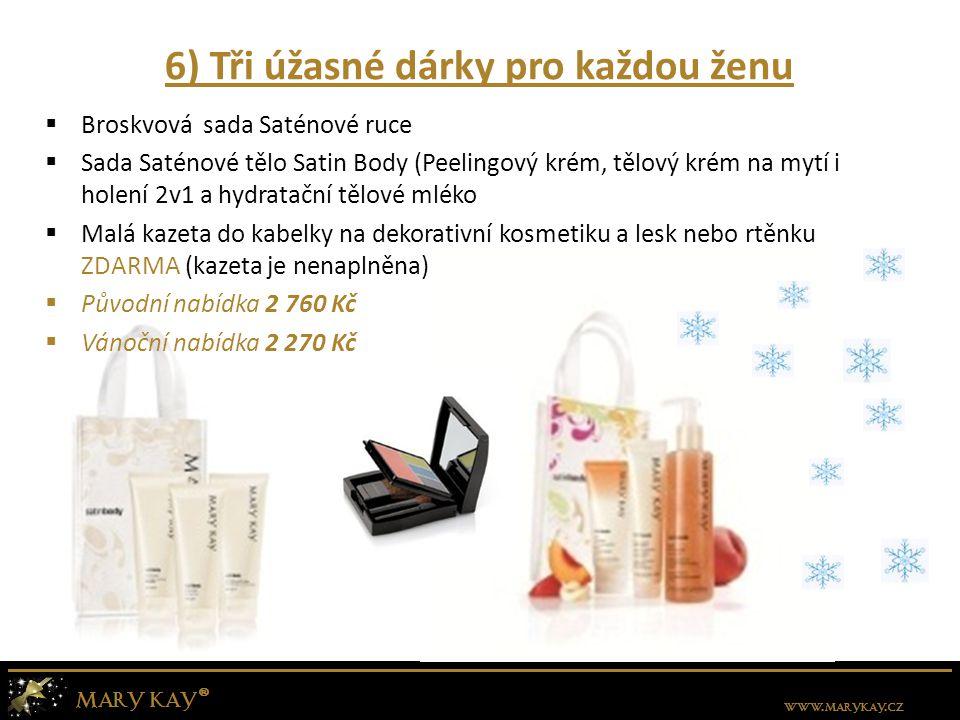 6) Tři úžasné dárky pro každou ženu  Broskvová sada Saténové ruce  Sada Saténové tělo Satin Body (Peelingový krém, tělový krém na mytí i holení 2v1