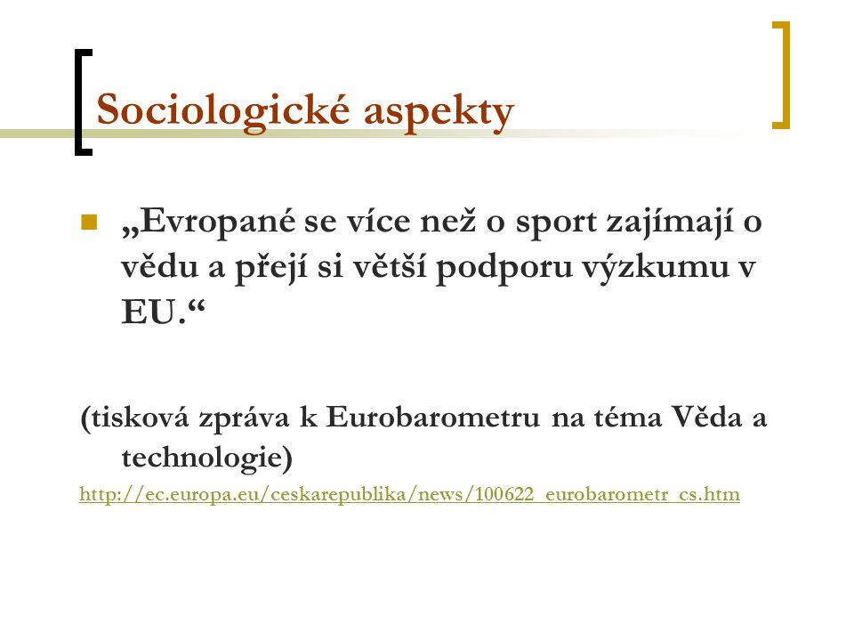 """Sociologické aspekty """"Evropané se více než o sport zajímají o vědu a přejí si větší podporu výzkumu v EU. (tisková zpráva k Eurobarometru na téma Věda a technologie) http://ec.europa.eu/ceskarepublika/news/100622_eurobarometr_cs.htm"""