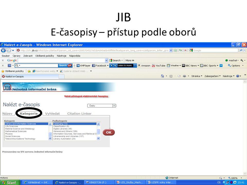 JIB E-časopisy – přístup podle oborů