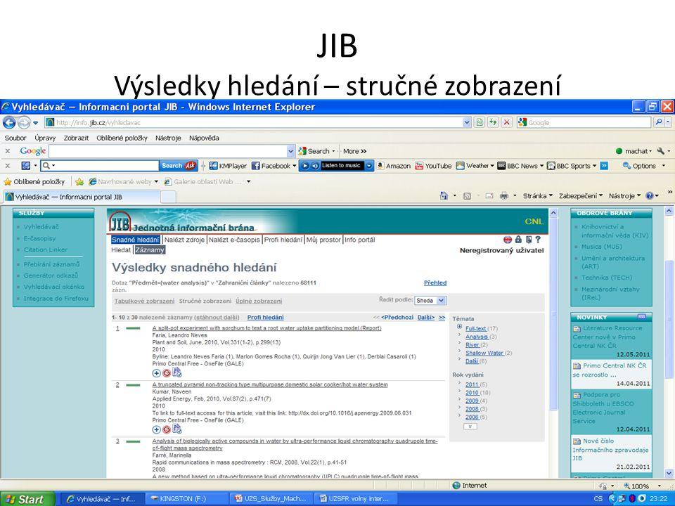 JIB Výsledky hledání – stručné zobrazení
