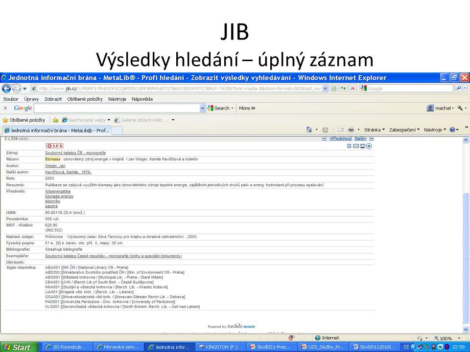 JIB Výsledky hledání – úplný záznam