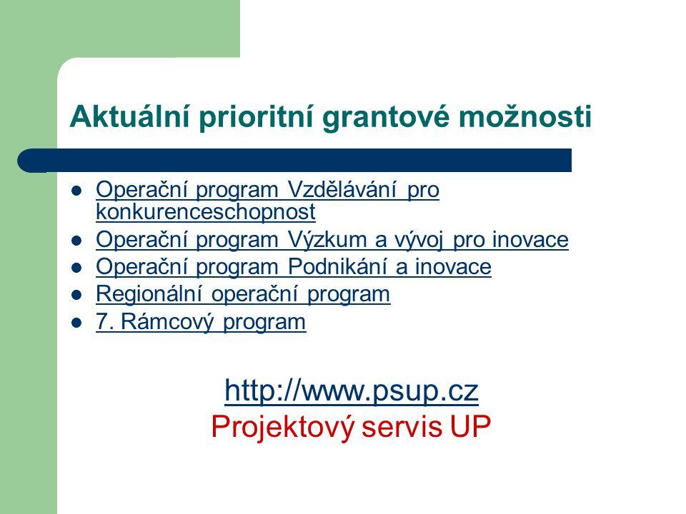 Aktuální prioritní grantové možnosti Operační program Vzdělávání pro konkurenceschopnost Operační program Vzdělávání pro konkurenceschopnost Operační program Výzkum a vývoj pro inovace Operační program Podnikání a inovace Regionální operační program 7.